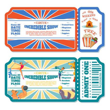Circus magic show entrance tickets templates. Vector illustration