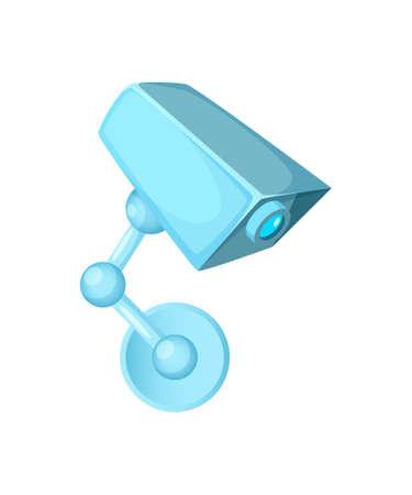 Concept design of surveillance Camera. Cartoon Vector Illustration.