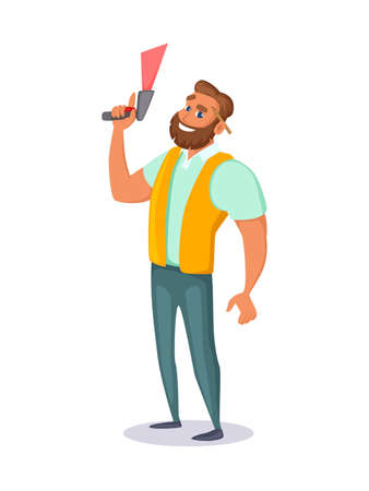 Warehouse employee holds a barcode scanner in his hand. Concept character design. Vector illustration. Illustration
