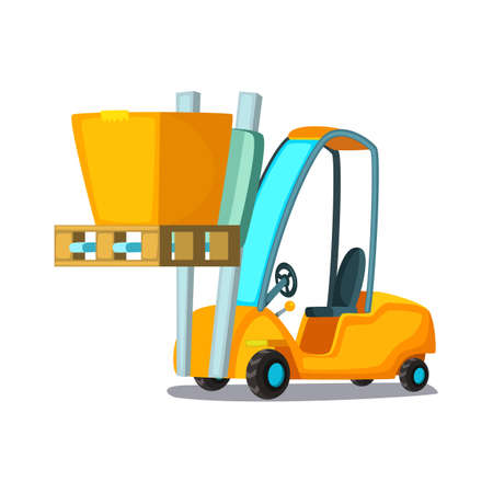 Forklift carries with pasteboard box on a white background. Concept cartoon vector illustration for business, info graphic, web, icon, presentations, advertising.