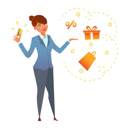 A happy young woman holding a gold credit card in hand. Cartoon character desingn. vector illustration.