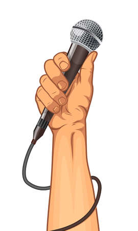 hand holding a microphone in a fist. vector illustration Ilustrace