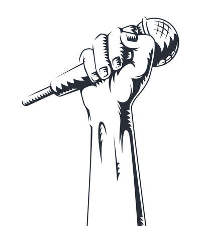 hand holding a microphone in a fist. vector illustration. Contour hand icon with microphone