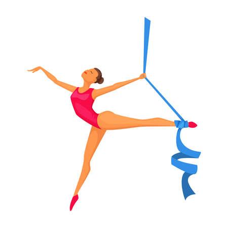 Joven gimnasta con cinta. Mujer gimnástica rítmica Gimnasia artística, ballet, yoga, gimnasio, deportes de fitness. Diseño de personaje de dibujos animados Foto de archivo - 84952824