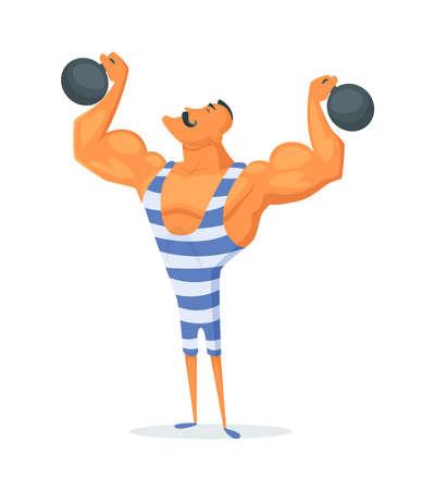 Vintage Strongman. Ancient athlete. Retro bodybuilder barbell. Strong power Circus actor