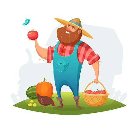 Cartoon farmer character design Ilustração