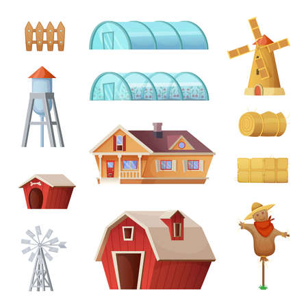 Farm buildings and constructions set. Agriculture industry and countryside life objects. Vector cartoon concept design farmer elements