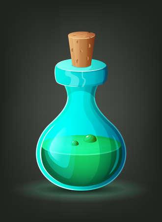 augury: Bottle with green potion. Icon of magic elixir. Cartoon vector illustration