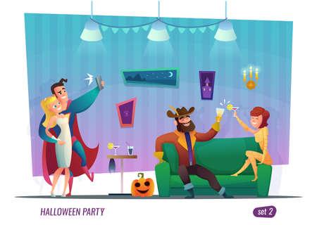 ハロウィーン パーティーのコンセプトです。衣装の人々 が祝っています。フラットのキャラクター デザイン。