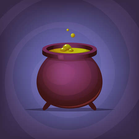 Halloween witch magic cauldron illustration. Illustration