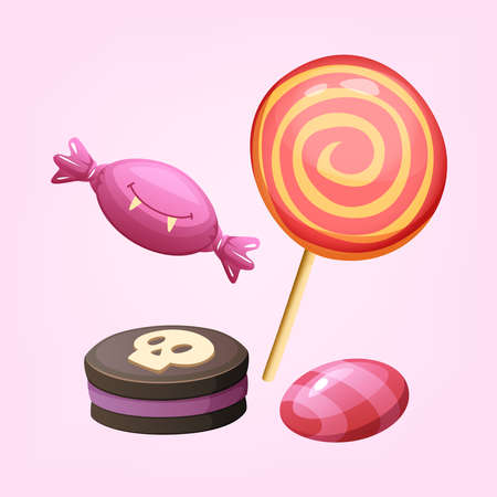 Sweet desserts for Halloween. Chocolate biscuits, candy, lollipop Vector illustration Illustration