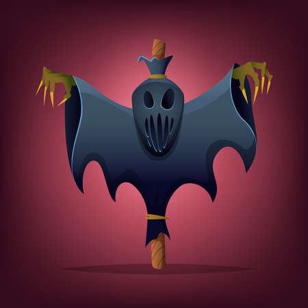 Scary Halloween Scarecrow. Evil dummy character design Illustration