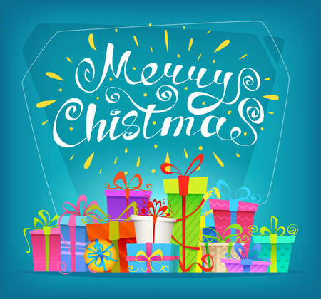 Marry Christmas background with gift boxes. Flat style, vector design.