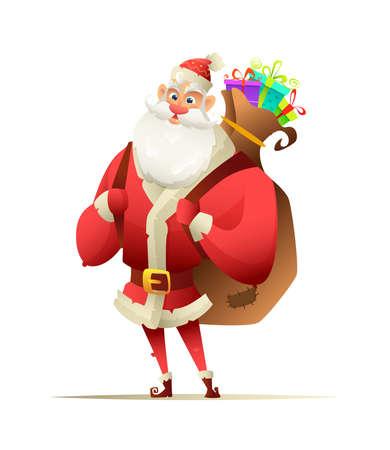 陽気なサンタに立って、彼の背中の後ろにクリスマス プレゼントで大きなバックパックを保持  イラスト・ベクター素材
