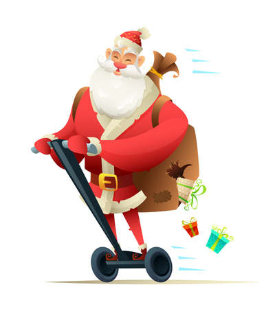 Santa ride on segway. Gifts falling from the bag. Electric Scooter Christmas Greeting Card. Flat Design Vector Illustration