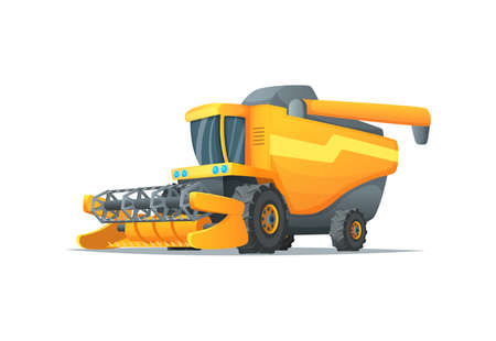 Agriculture combine harvester isolated vector illustration. Rural industrial farm equipment machinery, farm transport, agricultural vehicle in cartoon style Illustration
