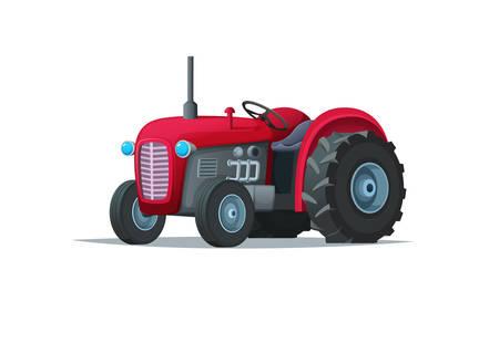 Rode beeldverhaaltractor die op witte achtergrond wordt geïsoleerd. Zware landbouwmachines voor veldwerk. Vector Illustratie