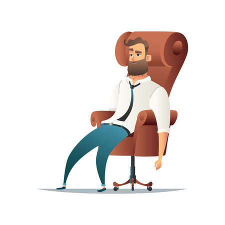 Tired businessman sitting in chair in cartoon style illustration Illustration