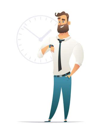 Happy businessman standing near big clock icon, time concept illustration.