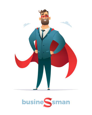 Businessman in red cloak or cape and eye mask, standing in a superhero pose. Illustration