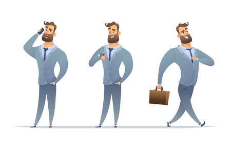 Businessman in different poses, talking on the phone, looking at his watch and walking. Set manager character in a cartoon style.