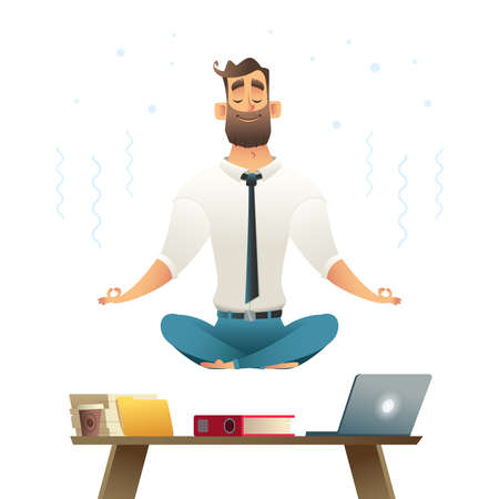 Businessman meditates and hovers over workplace. Concept of meditation. Yoga pose. Cartoon style vector illustration.