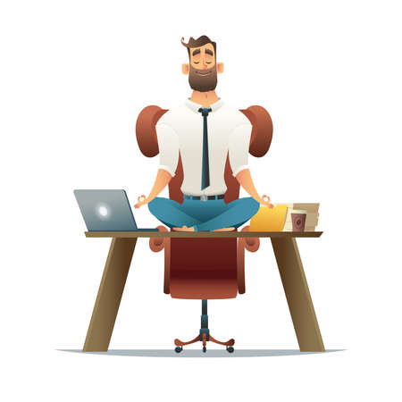 Yoga at job. Businessman relaxing in lotus position on table with computer at workplace. Cartoon style man meditation in office. Stock Photo