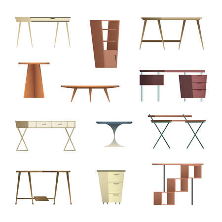 Home and office furniture interiors collection of objects