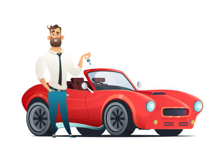 Buying or renting a new or used red and speedy sports car. Dealer giving keys chain to a buyer hand. Modern flat style vector illustration isolated on white background.