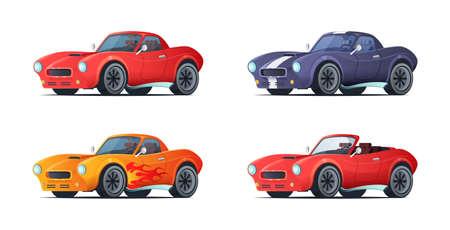 Sportcar kreskówka projekt w nowoczesnym stylu. Muscle car różne odmiany. Ilustracja wektorowa. Ilustracje wektorowe