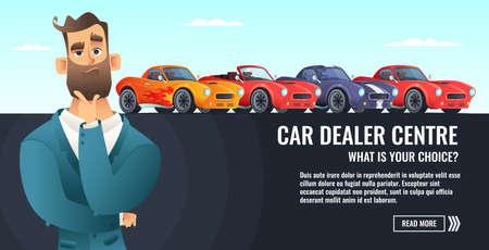 Car dealer centre concept banner. Automobile salling or rent. Auto business cartoon style illustration