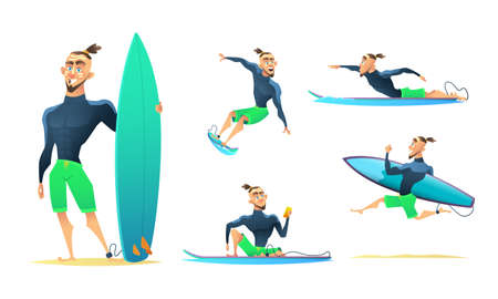 Surfer in different dynamic poses, standing, running, floating, surfing. Cartoon character design vector illustration