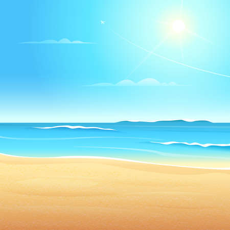 View of the sea beach with waves, Sandy coast clean blue sky the sun shines.