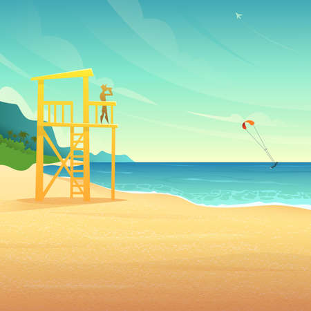 Tower on the sandy coast with life guard vector illustration