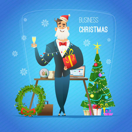 Businessman in Santa Claus hat, suit, keeps a gift and drinks champagne. Christmas concept character design.