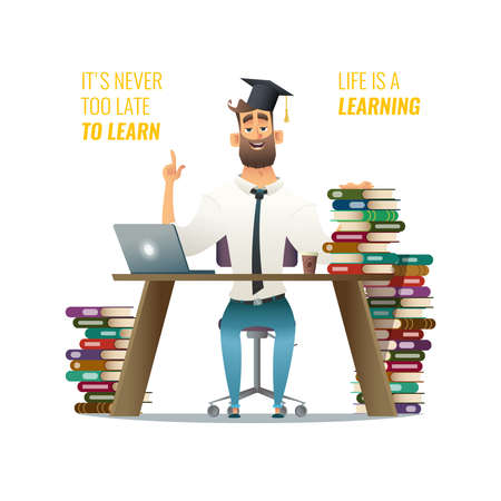 Guy in learning process. Man sitting behind his studying desk using his computer. Cartoon character design llustration with work table and  books and male in students cap
