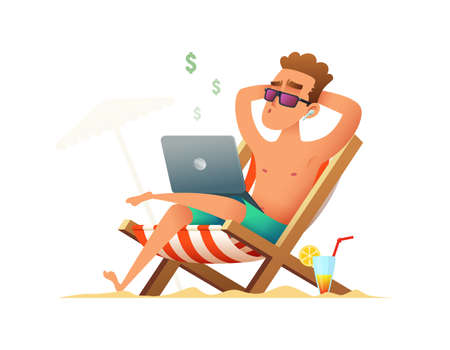 Man sitting on a lounger and working on the computer. Freelancer gets paid, sitting and relaxing on the beach on weekends or holidays. Business man summer vacation work.