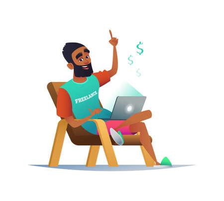 Mens die thuis met laptop computer aan leunstoel werkt. Het concept van werken op afstand van een zakenman