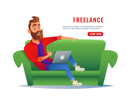 Man working at home on the couch. Freelancer sitting on sofa with a laptop, working remotely via the internet. Work at home concept. Ilustracja