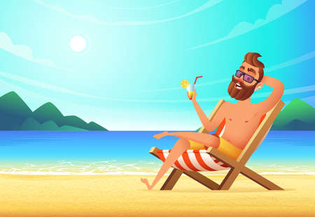 A man lies on a lounger on a sandy beach, drinks a cocktail and relaxes. Vacation at sea, vector illustration.