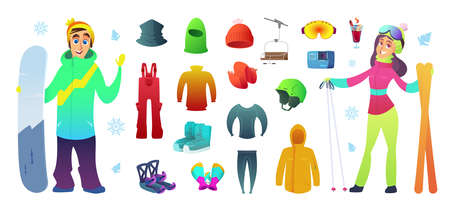 Ski and snowboarding collection icons equipment and funny characters design.