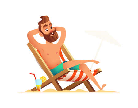 Male sitting in beach chair Illustration
