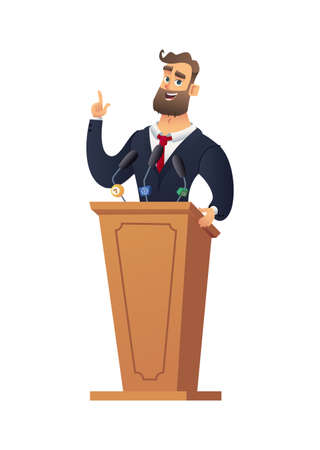 The peasant man speaking from the rostrum. Businessman or speaker speech. Rector in the classroom. Illustration