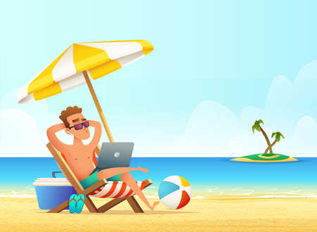Feelancer on the beachworking and rilaxing. Business Man Remote Work Place. Businessman at the beach Illustration
