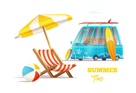 Summer time concept with surfers van and lounger with umbrella.