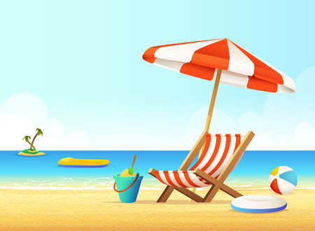 Sunbed and umbrella on a sandy beach. Summer Holiday with Sea View Concept.