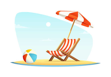 Leisure or rest at sea. Vacation and travel concept. Beach umbrella and beach chair on sea coast. Illustration