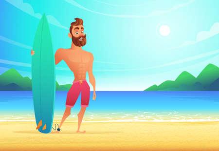 Surfista en playa tropical. Hombre feliz que se coloca en una bahía arenosa.