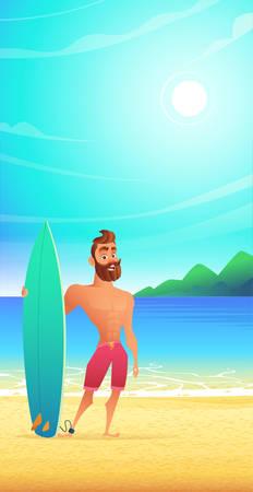 Surfer on tropical beach. Happy man standing sandy bay.