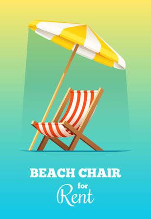 Strandkorb oder Chaiselongue und Regenschirm für Miete . Sommer Vektor-Illustration Standard-Bild - 93962787